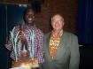 Le lauréat Karim Namoano en compagnie du représentant de l'IRD, Jean Marc Le blanc